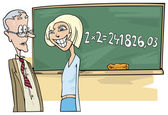 School girl with math problem — Stock Vector