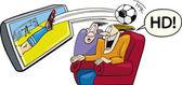 Prática do desporto na televisão de alta definição — Vetorial Stock