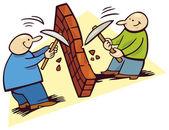 Män bryta mot väggen — Stockvektor