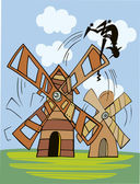 Don Quixote and wind mill — Stock Vector