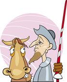 Don Quixote and his horse — Stock Vector