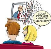 Guardare la televisione digitale coppia — Vettoriale Stock