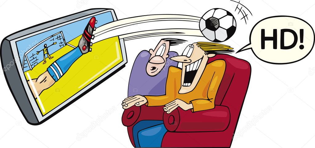 Illustration of two men watching sport on high definition television  Stock Vector #3687377