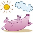 Stock Vector: Pig take sunbath