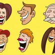 Set of funny faces - Stock Vector