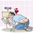Plumber in love — Stock Vector