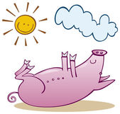 Pig take sunbath — Stock Vector