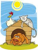 Happy farm animals — Stock Vector