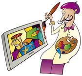 Pittore pittura sul televisore — Vettoriale Stock