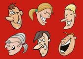 组的有趣的脸 — 图库矢量图片