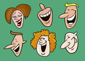 Set of funny faces — Stok Vektör