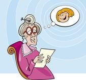 Grandma reading letter from granddaughter — Stock Vector