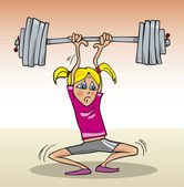 Girl lifting heavy weight — Stock Vector