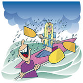 Girl in kayak and laughing boy — Stock Vector