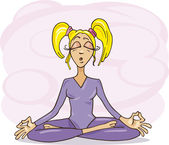 Kız meditasyon — Stok Vektör