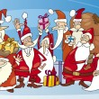 Stock Vector: Santas group