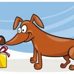 Dog and christmas gift — Stock Vector #3732456