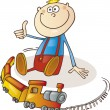 Boy with train set - Stock Vector