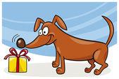 Dog and christmas gift — Stock Vector