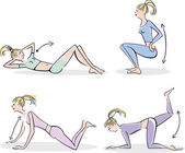 Woman doing typical warm up — Stockvektor