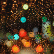 Blurry Traffic Lights and Rain Drops — Stock Photo