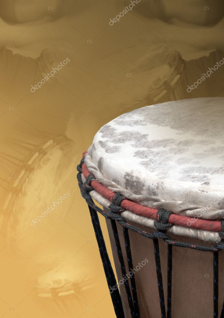 The photo shows a isolated djembe over structured background — Stock Photo #3650767