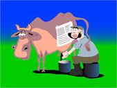 Farmer milking cow. caricature — Stock Vector