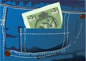 Money jeans — Stock Vector