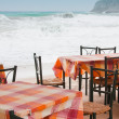 Tavern tables in Crete — Stock Photo