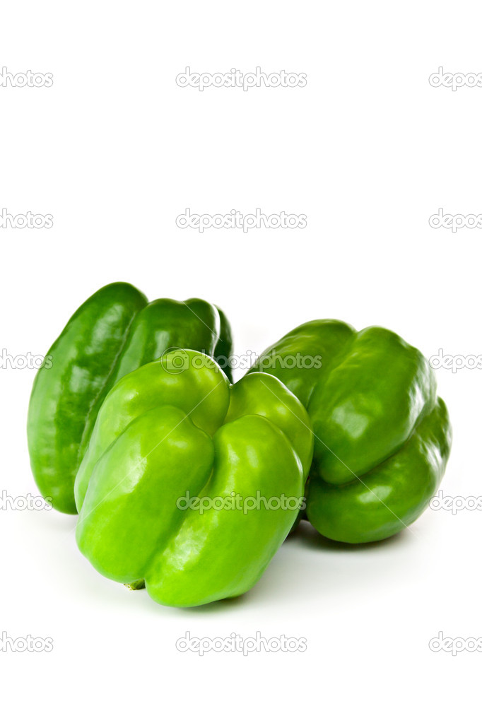 Green bell peppers isolated on white background — Stock Photo #3607779