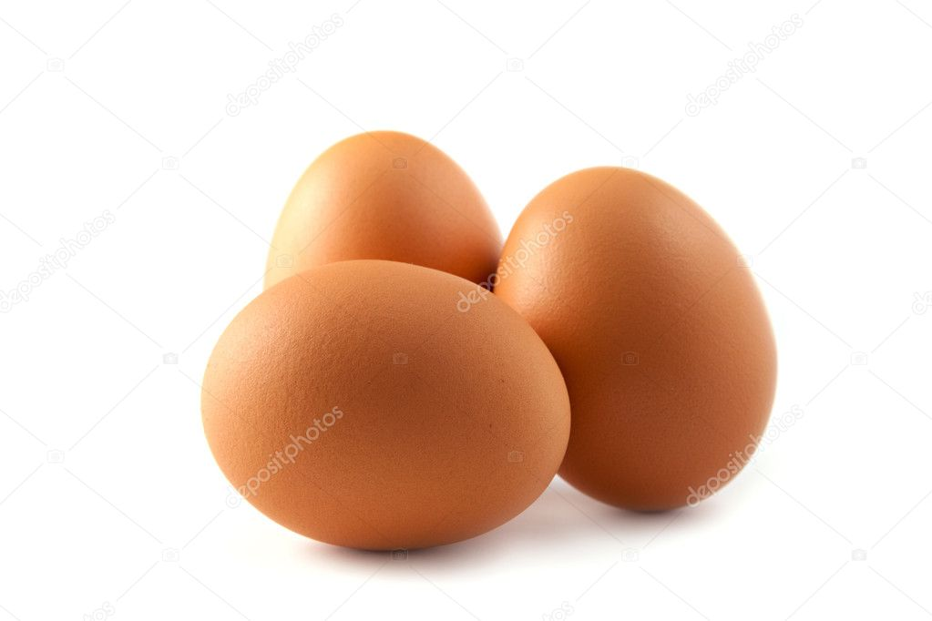 Three eggs isolated on a white background. — Stock Photo #3607785