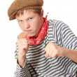 Stock Photo: Ready to fight teenage dressed in seaman shirt
