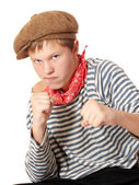 Ready to fight teenage dressed in seaman shirt — Stock Photo