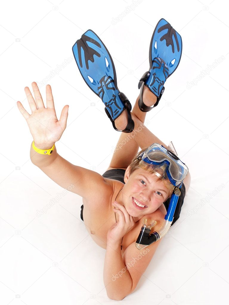 Handsome teenage dressed in diving accessories — Stock Photo #3882705