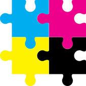Cmyk puzzle — Stock Vector