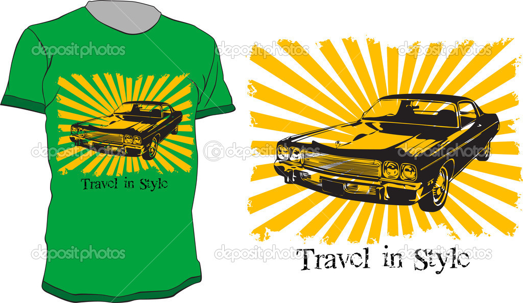 T-shirt vector design with old car and quote - travel in style — Stock Vector #3751076