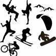 Mountain sports silhouettes — Stock Vector