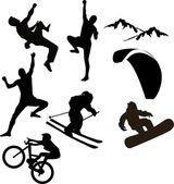 Mountain sports silhouettes — Stock Vector