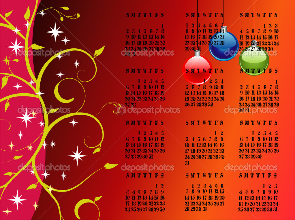 2011 editable vector calendar on christmas theme — Stock Vector #3799441