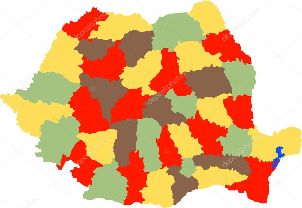 Detailed vector illustration of romanian counties — Imagens vectoriais em stock #3799451