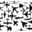 airplanes silhouettes vector pack — Stock Vector