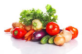 Tomatoes, carrots, cucumbers, an eggplant, salad — Stock Photo