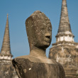 Stupa (chedi) of a Wat in Ayutthaya, Thailand, with Buddha staue — Stock Photo
