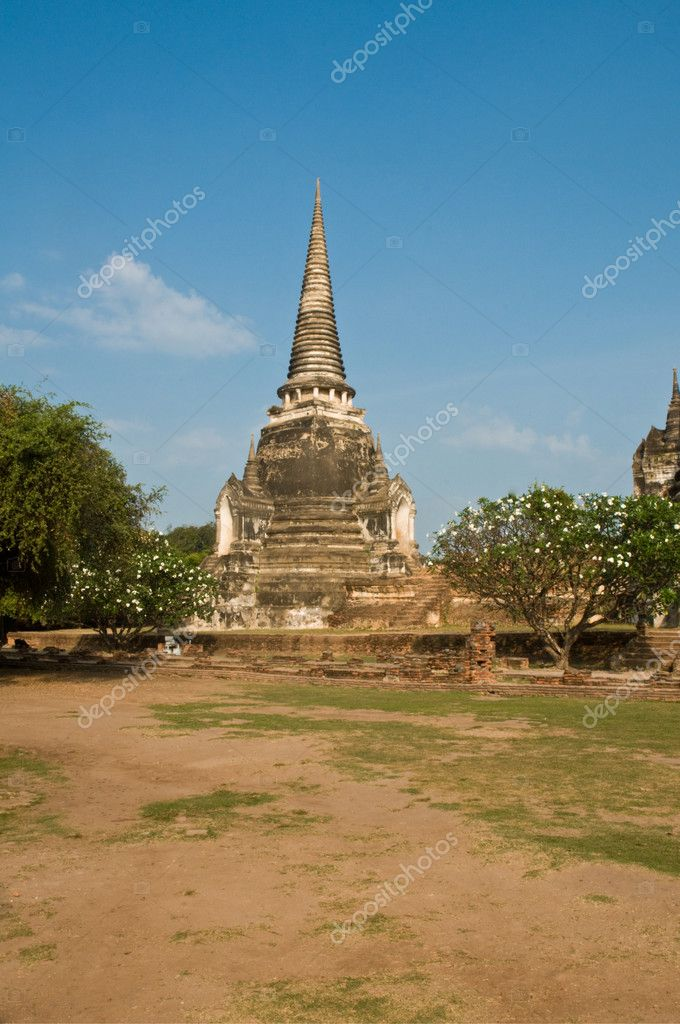 Stupa (chedi) of a Wat in Ayutthaya, Thailand. Ayutthaya city is the capital of Ayutthaya province in Thailand. Its historical park is a UNESCO world heritage. — Stock Photo #3683213