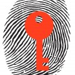 Finger Print with key — Stock Vector