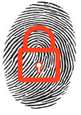 Finger Print with lock — Stock Vector
