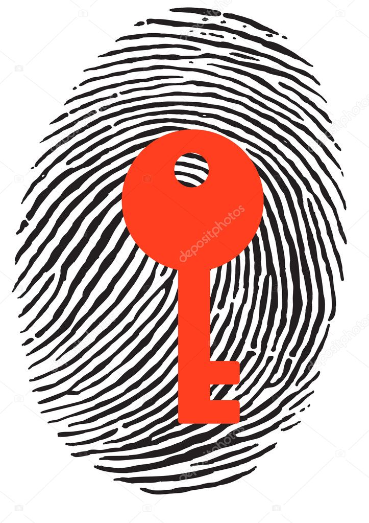 Finger Print with red key — Stock Vector #3683120