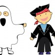 Kids in Halloween Costumes — Vector de stock #3911528