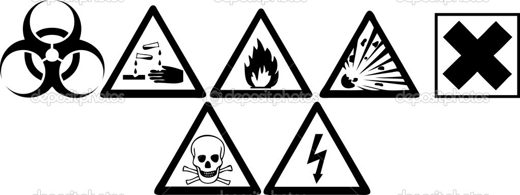 Black and white hazard signs — Stock Photo #3639264