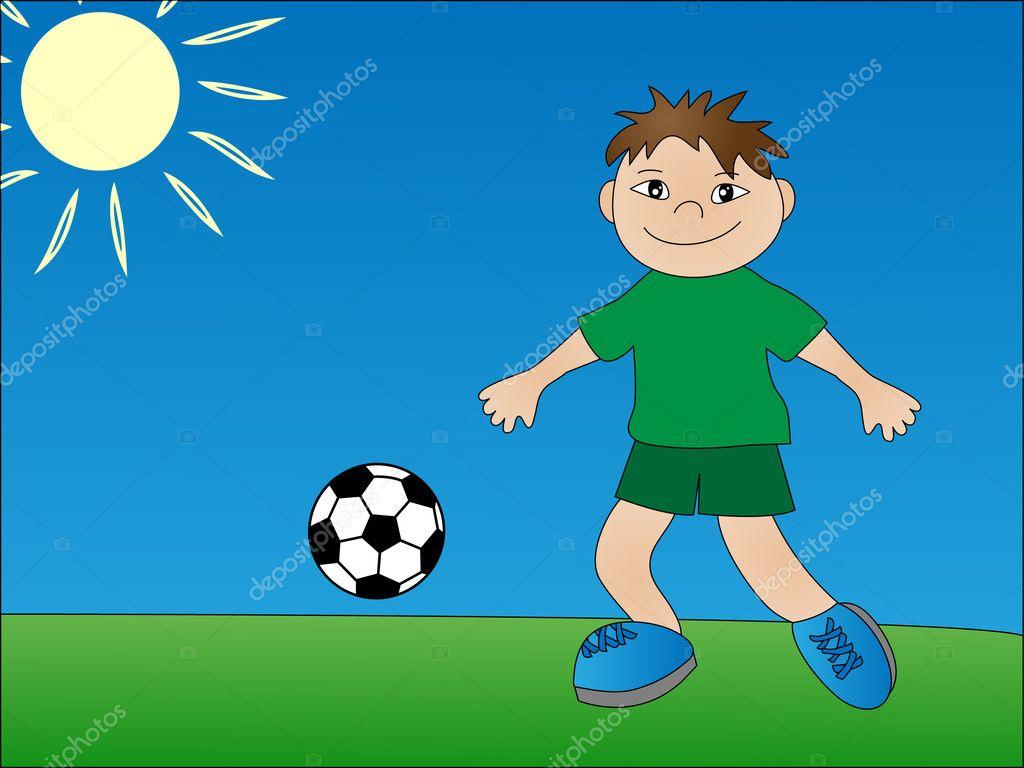 Children playing soccer stock illustration
